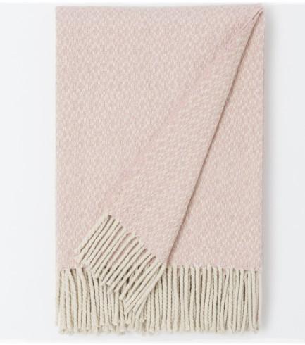 Merino-Wolldecke Crossing (Perlweiß und Pink 180cm x 130cm)